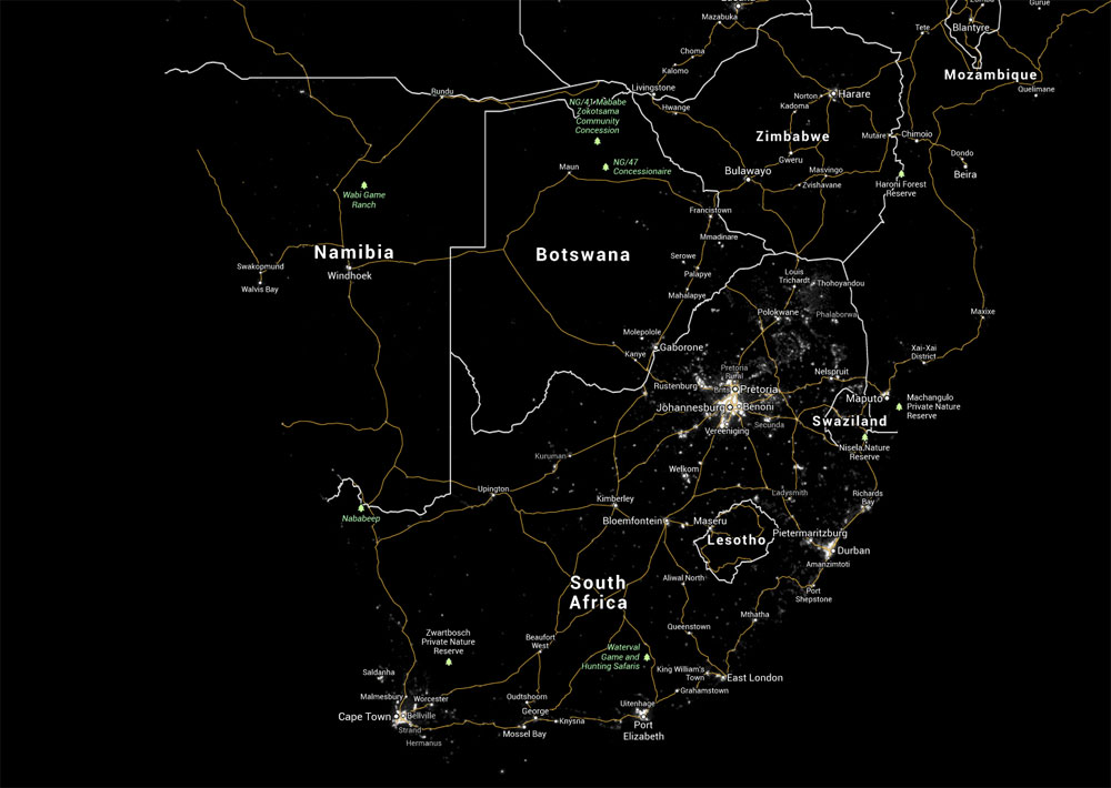 Southern Africa Light Pollution Map