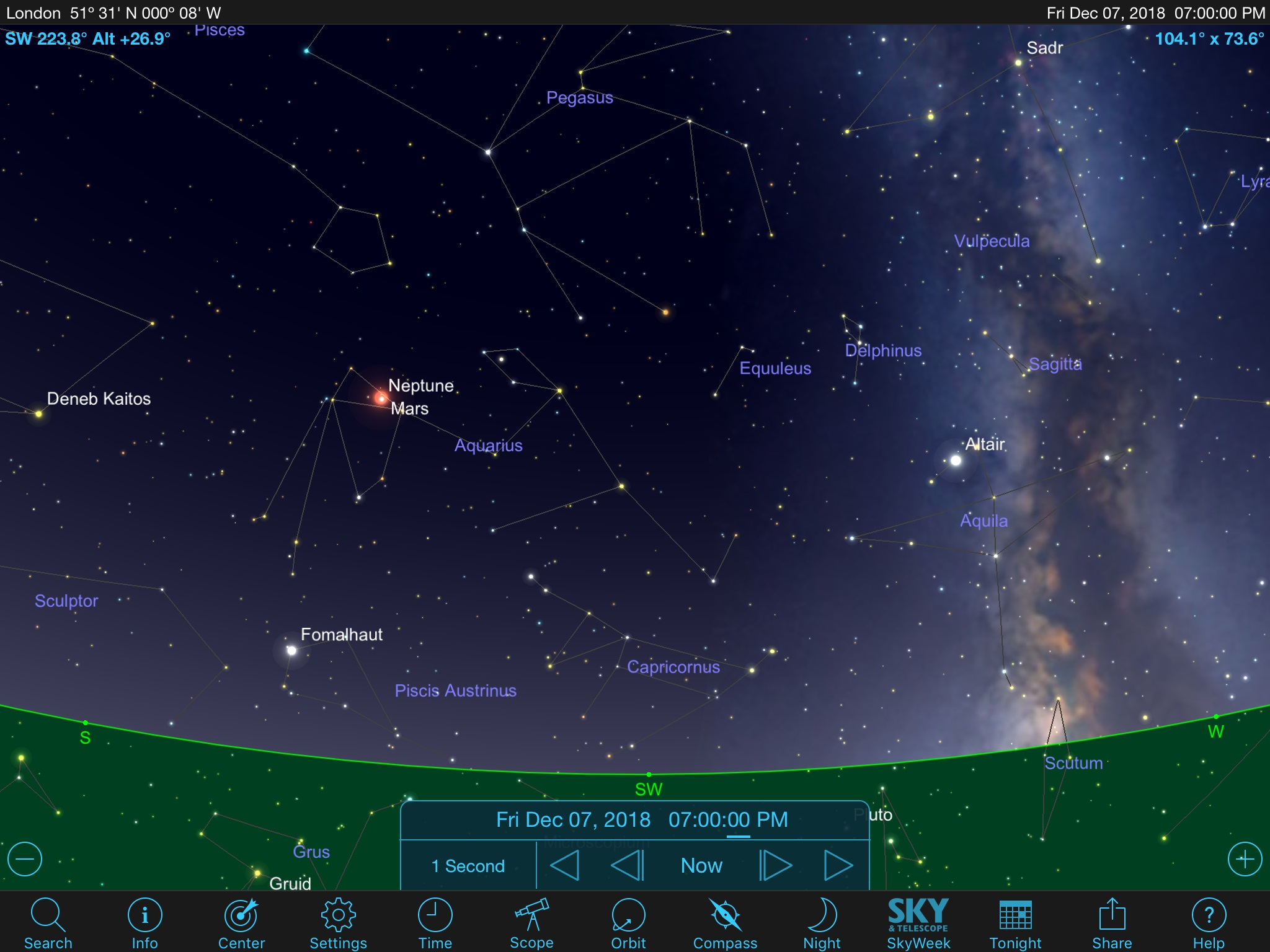 Mars Neptune Star Chart 7pm UK