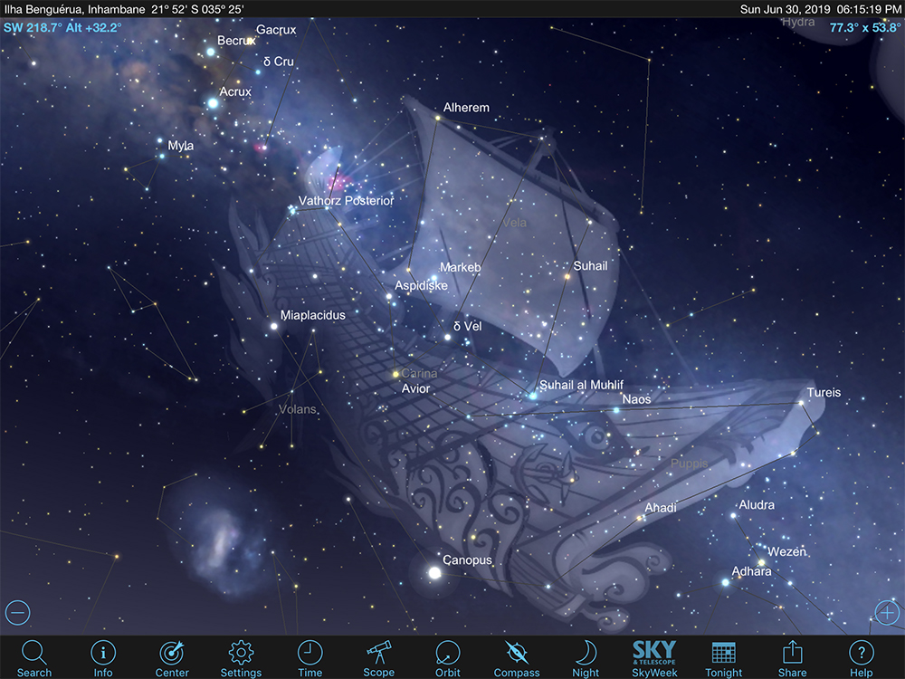 Star chart of the ancient constellation, Argo Navis.