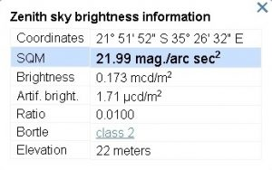 Sky condition estimate on Benguerra island.