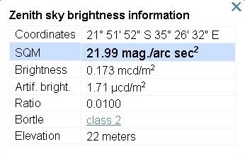 Sky condition estimate on Benguerra island.
