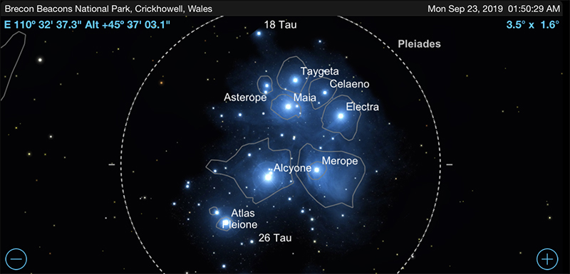 Star chart of Messier 45.