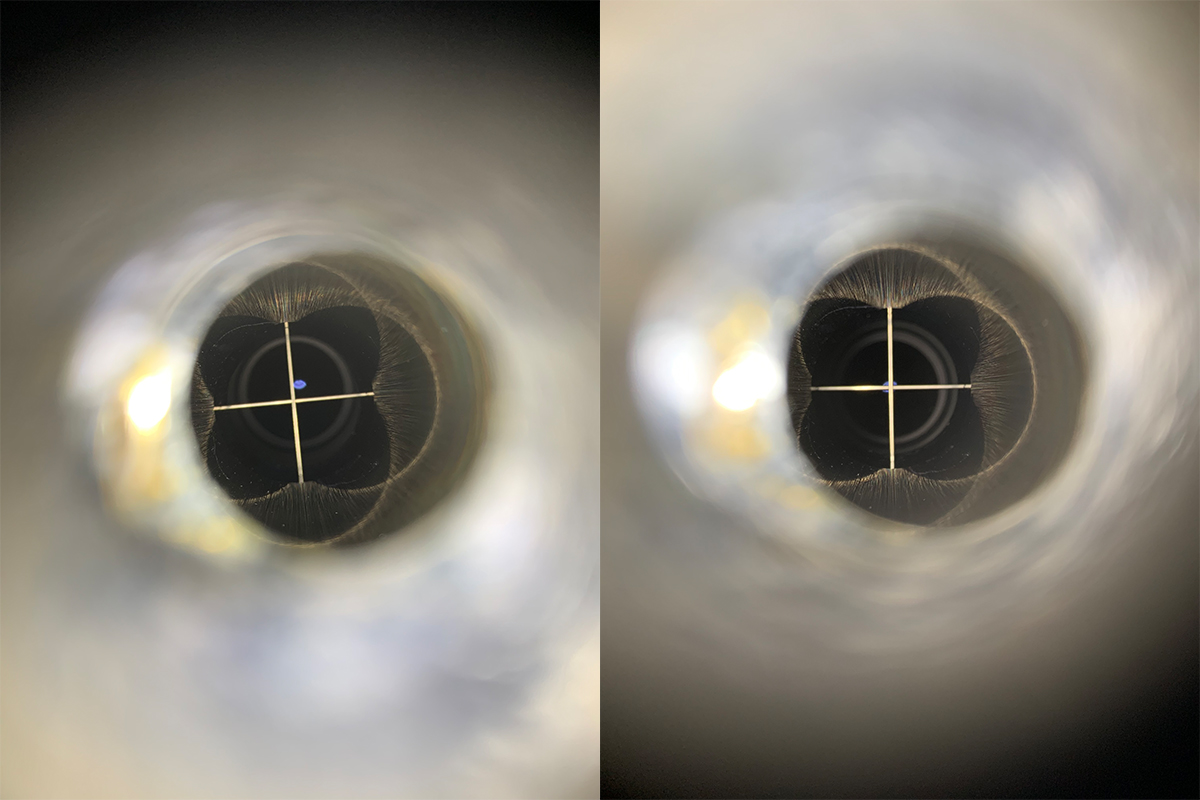 Comparison before and after adjusting the collimation of the Theia90.