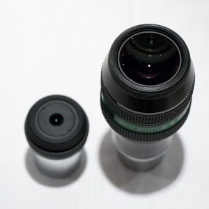 Image comparing the relative size of the eye lens of the Nagler Zoom to the 4.5mm Delos.