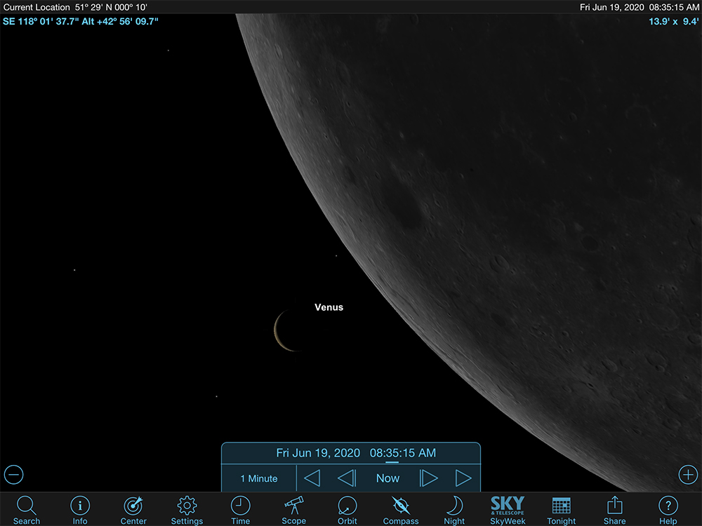 Starchart showing the relative positioning of Venus and the Moon 5 minutes before 1st contact.