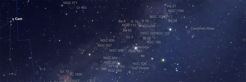 Observing all Open Clusters in Cassiopeia brighter than Mag 12 Part 1
